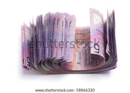 Dollar Notes on White Background