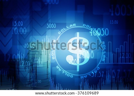 Dollar on abstract light background