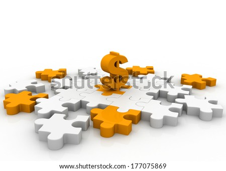 Dollar on puzzle pieces  - stock photo