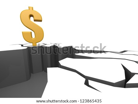 Dollar on the cliff - stock photo