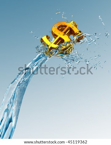 Dollar on wave - stock photo