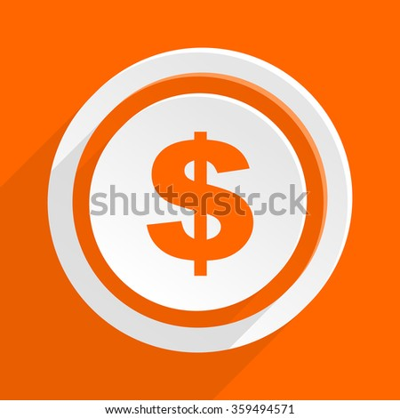 dollar orange flat design modern icon for web and mobile app