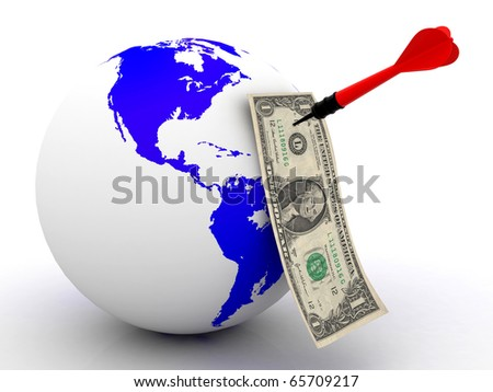 Dollar over the world with darts on a white background - stock photo