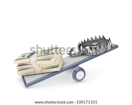 Dollar packs and iron trap on a simple scales.Isolated on white background.3d rendered. - stock photo