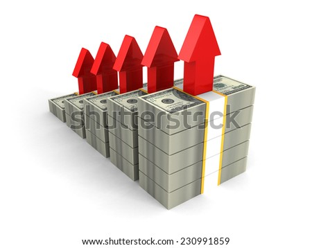 dollar packs bar graph with rising up red arrows. finance success concept 3d render illustration - stock photo