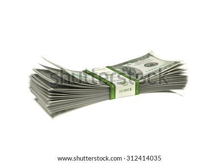 Dollar paper stack isolated - stock photo