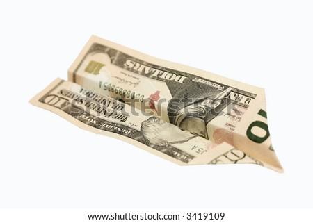 Dollar plain, on a white background - stock photo