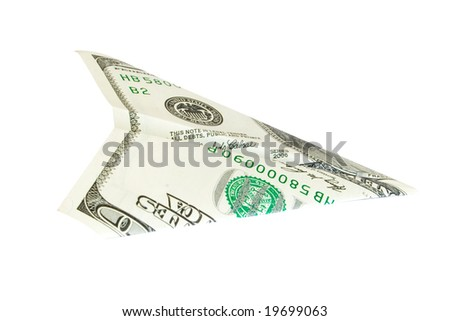 dollar plane isolated on white - stock photo