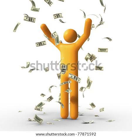 Dollar rain. - stock photo