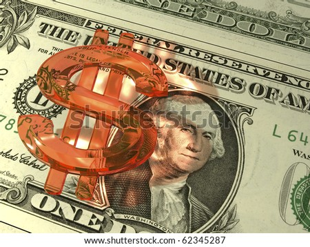 dollar red glass. - stock photo