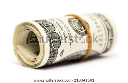 dollar roll isolated on white background - stock photo