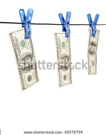 Dollar's Hanging on Rope with Clothespins isolated background - stock photo