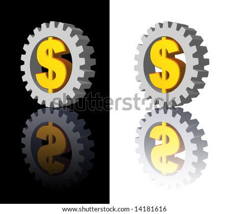 dollar sign and gear wheel -3d illustration - stock photo