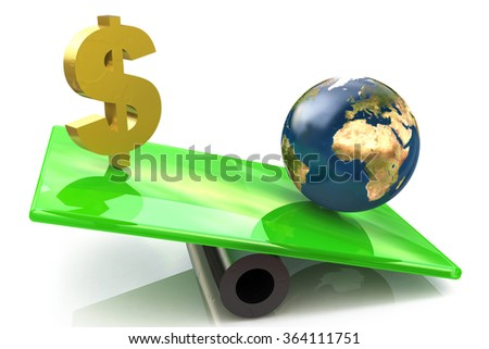 Dollar sign and globe on a scales in the design of the information associated with the global economy - stock photo