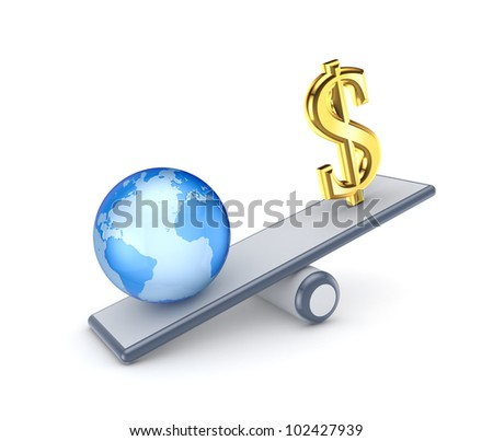 Dollar sign and globe on a scales.Isolated on white background.3d rendered.