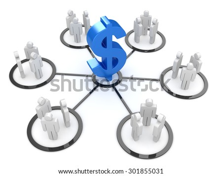 Dollar sign and people , This is a computer generated and 3d rendered picture. - stock photo