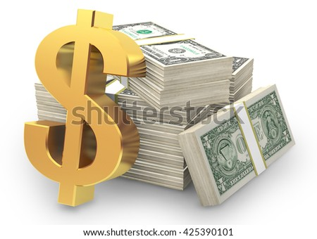 Dollar sign and stacks of dollars, 3D rendering and illustrations.