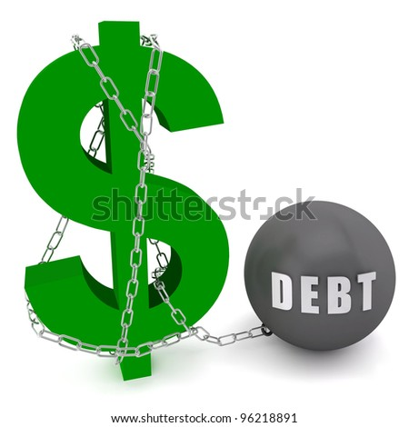 Dollar sign connected in a chain of debt on a white  background - stock photo
