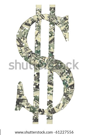 Dollar sign consisting of puzzles, white background. - stock photo