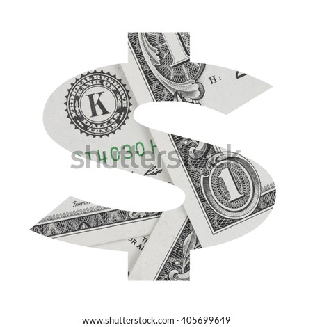 Dollar sign from dollar bill alphabet set isolated on white background.