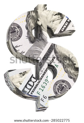 Dollar sign from dollar bill alphabet set isolated over white. Computer generated 3D photo rendering. - stock photo