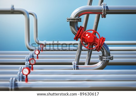 Dollar sign from oil pipeline on sky background - stock photo