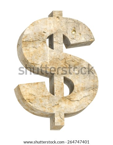 Dollar sign from sandstone alphabet set isolated over white. Computer generated 3D photo rendering. - stock photo