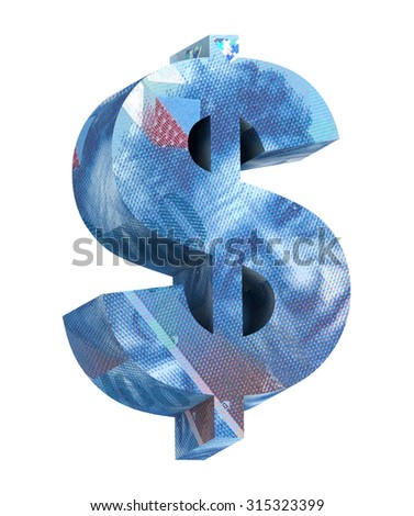 Dollar sign from swiss franc bill alphabet set isolated over white. Computer generated 3D photo rendering. - stock photo