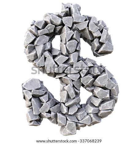 Dollar sign from the stones. isolated on white background. - stock photo