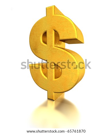 Dollar Sign gold - stock photo