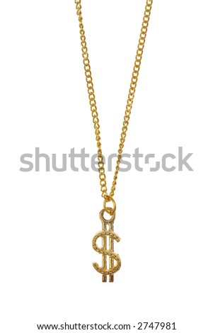 Dollar Sign Gold Necklace - stock photo