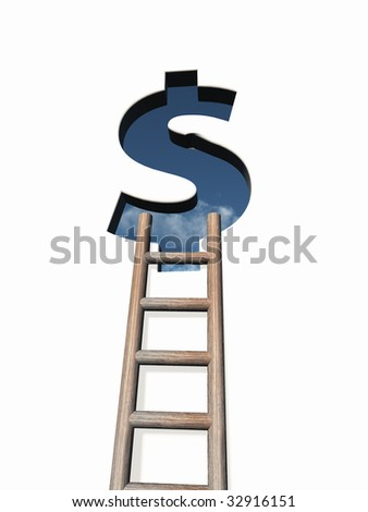 dollar sign hole in wound with ladder - 3d illustration