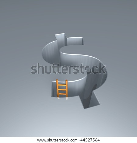 dollar sign hole with ladder - 3d illustration
