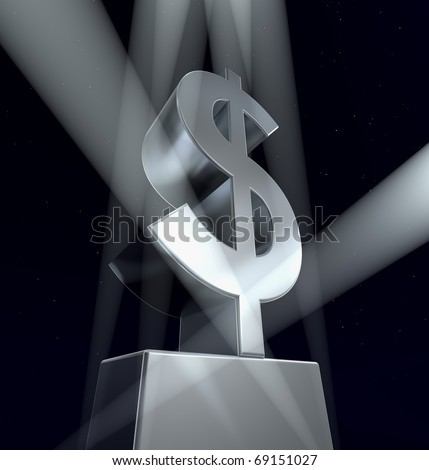 Dollar sign Illustration of the Dollar sign in silver on a silver pedestal at a black background - stock photo