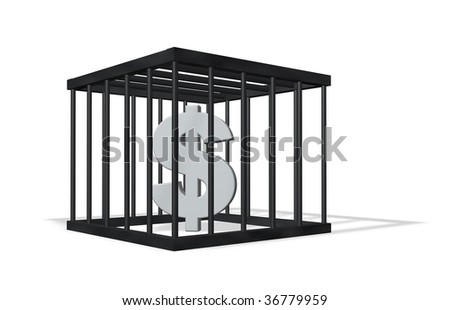 dollar sign in a cage on white background - 3d illustration - stock photo
