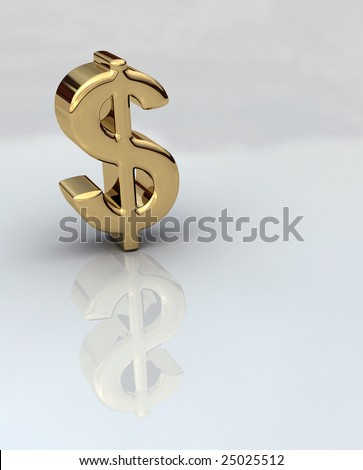 Dollar sign in gold 3D on a reflective background - stock photo
