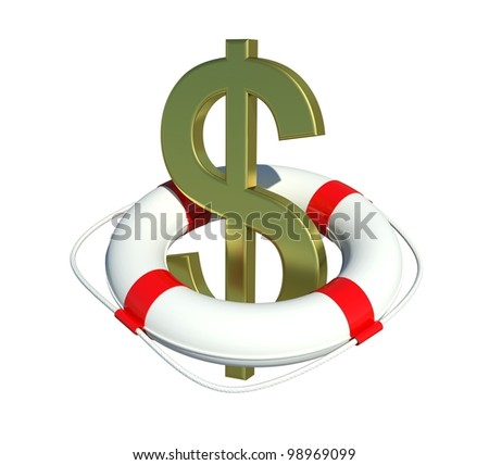 Dollar sign in lifebuoy. Isolated on white background