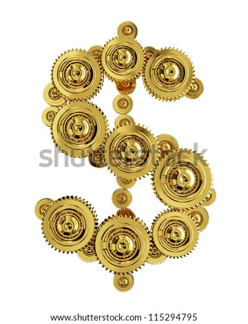 Dollar sign in the form of a gear mechanism of gold - stock photo