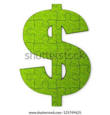Dollar sign is represented in the puzzle's form - stock photo