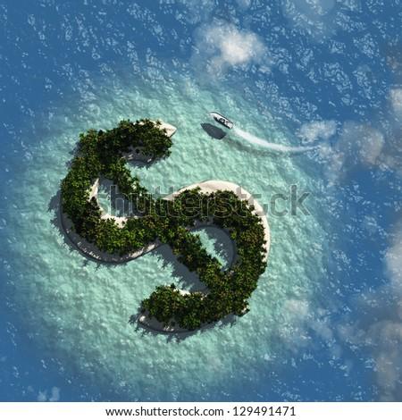 Dollar Sign Island - stock photo