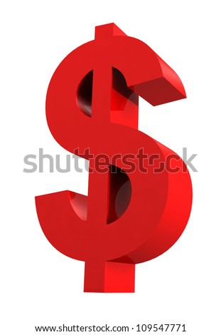 Dollar sign isolated on white - stock photo