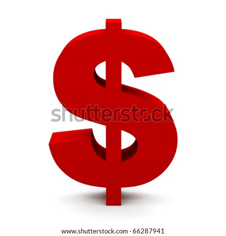 Dollar sign isolated on white. - stock photo