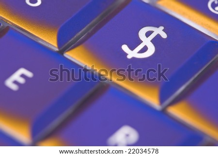 dollar sign key on computer keyboard - stock photo