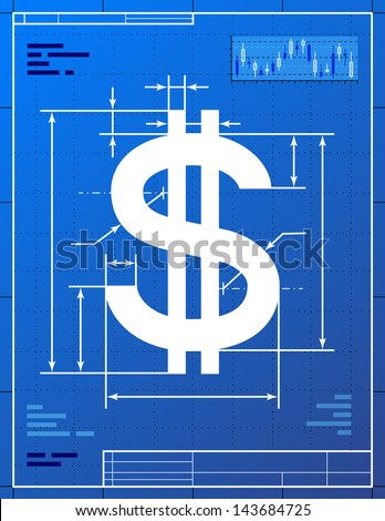 Dollar sign like blueprint drawing. Stylized drawing of money symbol on blueprint paper. Qualitative  illustration is good for banking, financial industry, economy, accounting, etc - stock photo