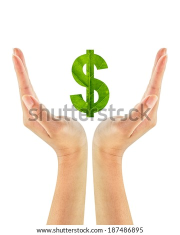Dollar sign made of green leaf on woman hands isolated on white background