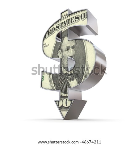 dollar sign made of solid metal with arrow down stands on white ground - stock photo