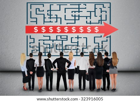 Dollar sign maze and business team thinking solution - stock photo