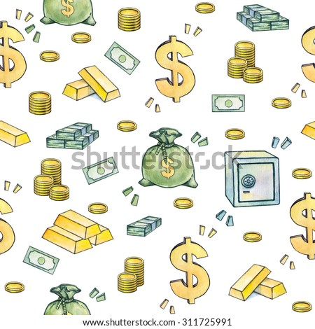Dollar sign. Money symbols. Seamless pattern. Watercolor drawing. Handwork.  - stock photo