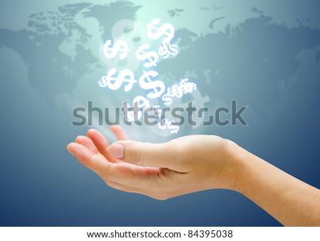 Dollar sign on hand - stock photo
