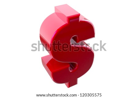 Dollar sign on isolated background - stock photo